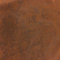 SHASON TEXTILE FAUX LEATHER JACOBEAN PRINT UPHOLSTERY FABRIC, BROWN