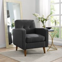 Mainstays Helena Mid Century Modern Upholstered Arm Chair, Grey