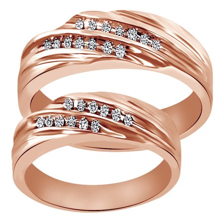 White Natural Diamond His And Hers Wedding Band Ring Set in 14K Rose Gold (0.14 Cttw)