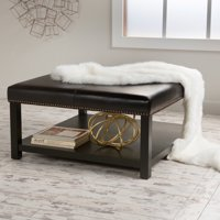 Noble House Edwin Brown Bonded Ottoman Coffee Table