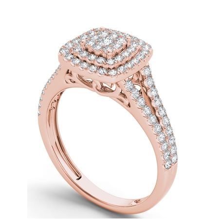 1/2Ct TDW Diamond 10K Rose Gold Diamond Double Halo Engagement (Double Rose Rings)