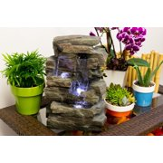 Alpine Waterfall Tabletop Fountain with White LED Light, Gray, 13 Inch Tall