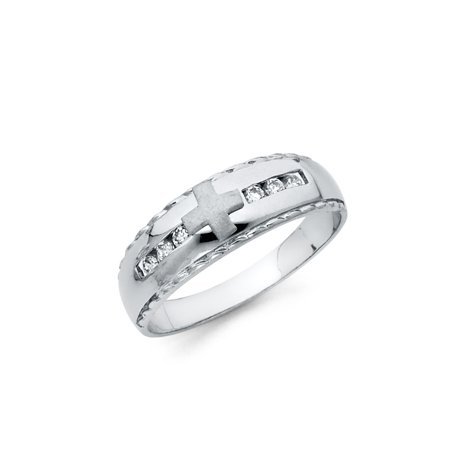 FB Jewels 925 Sterling Silver Ring Channel Set Round Cubic Zirconia CZ Cross Crucifix Religious Mens Anniversary Wedding Band Size 8.5