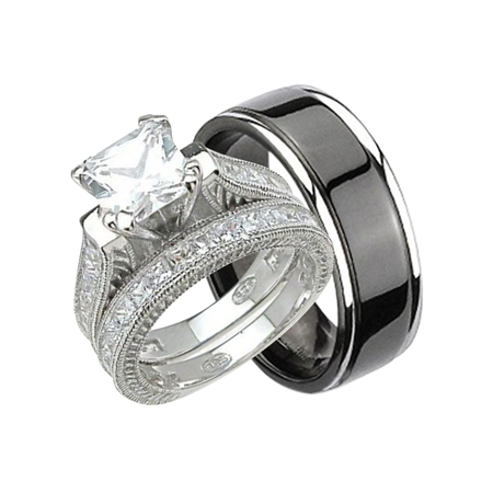 His and Hers Wedding Ring Set Matching Trio Wedding Bands for Him ( Black Plated Titanium) and Her (Sterling Silver)