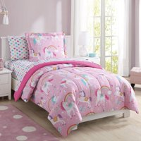 Mainstays Kids Rainbow Unicorn Bed in a Bag Complete Bedding Set