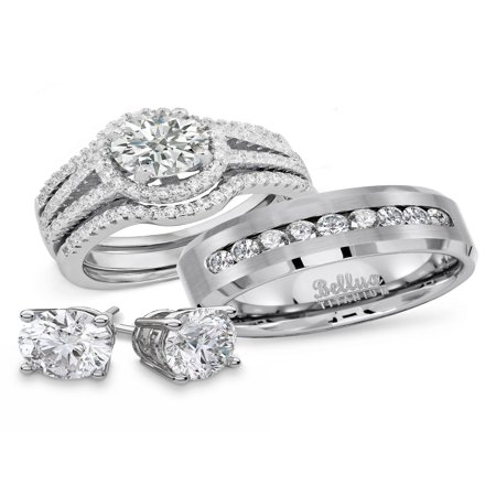 Religious Bridal Set - His and Hers Wedding Rings Titanium Sterling Silver Bridal Matching Ring Set + FREE STERLING SILVER EARRINGS (Women's Size 07 & Men's Size 10)