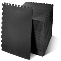 "Everyday Essentials 1/2"" Thick Flooring Puzzle Exercise Mat with High Quality EVA Foam Interlocking Tiles, 36 Piece, 144 Sq Ft, Black"