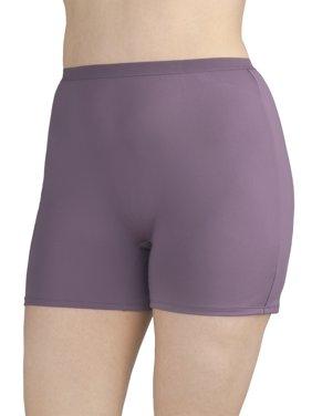 Women's Plus Microfiber Slip Short Panties - 4 Pack