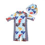 1c985023a3 Toddler Kid Baby Girls Boys Shark Swimsuit Sun Protective Beachwear Swimwear  Rashguard Bathing Suit Hat