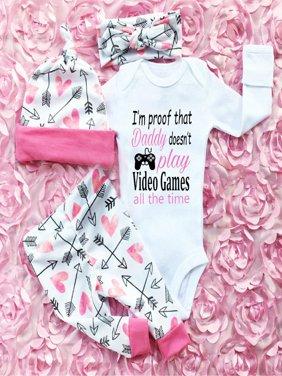 4PCS Newborn Infant Baby Girls Outfit Clothes Romper Bodysuit Jumpsuit+Pants Set