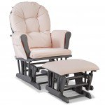 Storkcraft Hoop Glider and Ottoman Gray with Light Pink Cushions