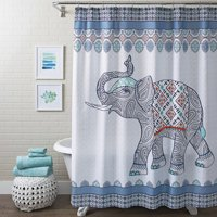 """Better Homes and Gardens Fabric Shower Curtain Global Elephant - stitched decorative tassels- 72"""" x 72"""" - Easy Care"""