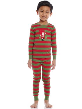 Leveret Kids Christmas Pajamas Santa Pajamas Boys Girls & Toddler Pajamas Red White Green 2 Piece Pjs Set 100% Cotton (12 Months-14 Years)