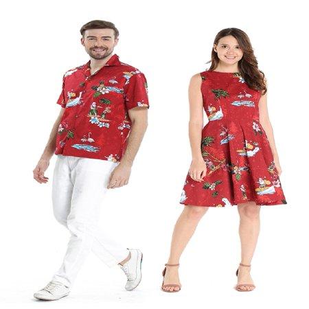 Couples Dress Up Ideas (Couple Matching Hawaiian Luau Cruise Outfit Shirt Vintage Dress Christmas Santa in Hawaii Red Men M Women)