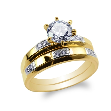 Ladies 2 Tone Bezel Ring (Womens Set Two Tone 10K Yellow Gold Round CZ Embedded Engagement Ring Size 4-9 )