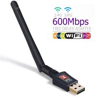 600 Mbps Dual Band 5GHz/2.4GHz WIFI USB Adapter 802.11ac w/ Antenna Wireless Network Dongle for PC Laptop