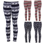 4b2203b95474ba 3 Styles Womens Christmas Warm Leggings Snowflake Reindeer Print Tights  High Waist Stretchy Long Pants
