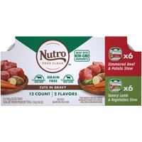 NUTRO Grain Free Wet Dog Food Cuts in Gravy Variety Pack Simmered Beef & Potato Stew, Savory Lamb & Vegetables Stew, (12) 3.5 oz. Trays
