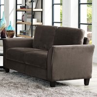 Lifestyle Solutions Alexa Rolled-arm Loveseat, Upholstered fabric in Coffee