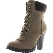 64a5711e221 Soda Women s Rouge Faux Suede Lace Up Combat Chic Work Boot High Heel Ankle  Bootie