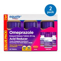 (2 Pack) Equate Acid Reducer Omeprazole Delayed Release Tablets, 20 mg, 42 Ct, 3 Pk - Treat Frequent Heartburn