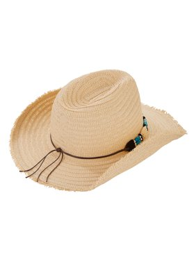 Women's Double Bead Trim Cowboy Hat With Frayed Edge