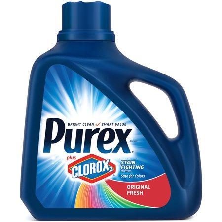 Purex Liquid Laundry Detergent plus Clorox 2 Stain Fighting Enzymes, Original Fresh, 128 Fluid Ounces, 71 (Best Laundry Detergent For Sweat Stains)