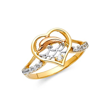 FB Jewels 14K Yellow White and Rose Three Color Gold Fashion Anniversary Dolphin Ring Size 5.5