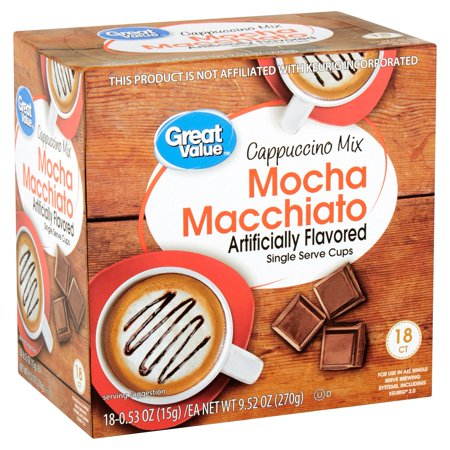 Great Value Mocha Macchiato Cappuccino Mix Coffee Pods, Medium Roast, 18 count