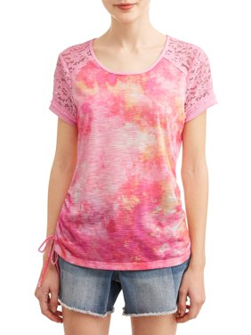 Juniors' Tie Dye Printed Lace Yoke Short Sleeve T-Shirt