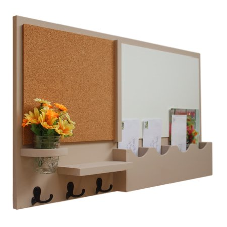 Message Center with Whiteboard, Cork Board, Mail Slots, Coat Hooks & Mason Jar - Red Poster Board