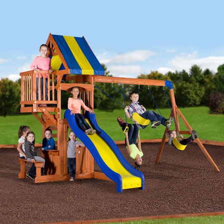 Backyard Discovery Peninsula Wooden Swing Set Walmart Com