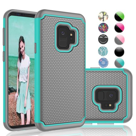Samsung Galaxy S9 Case, Galaxy S9 Phone Case, Njjex [Shock Absorption] Drop Protection Hybrid Dual Layer Armor Defender Protective Case Cover For Smamsung Galaxy S9 (2018) -Turquoise