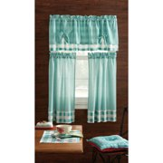 Pioneer Woman Kitchen Curtain And Valance 3pc Set Charming Check Teal