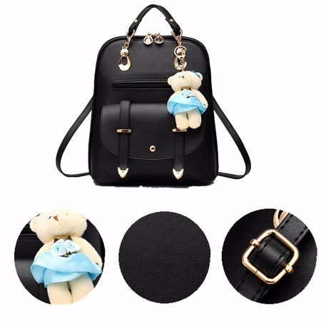 Prada Leather Purse - Women's Sweet Bear Bag Casual Backpack PU Leather Shoulder Bag with Bear Pendant Travel Book Bags
