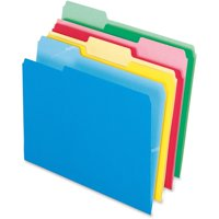 Pendaflex, PFX48440, Cutless Color File Folders, 100 / Box, Blue,Red,Yellow,Green