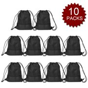 bceaccd6c7f3 Drawstring Bags Bulk Waterproof Gymsack Sackpack Cinch Sack for Kids Girls  Boys-BlackM-10PACK