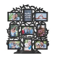 """Mainstays 21"""" x 24"""" 9-Opening Family Tree Wall Collage Picture Frame, Multiple Colors"""