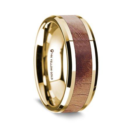 14K Yellow Gold Polished Beveled Edges Mens Wedding Band With Olive Wood Inlay