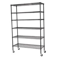 """Muscle Rack 48""""W x 18""""D x 74""""H Six-Level Mobile Wire Shelving, Black"""