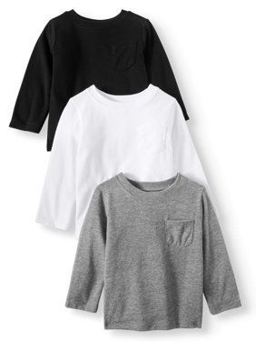 Garanimals Long Sleeve Pocket T-Shirts, 3-pack (Baby Boys)