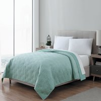 Mainstays Soft Plush Micromink Kaleidoscope Quilt, Full/Queen, Teal