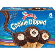 DRUMSTICK Vanilla, Vanilla Fudge & Vanilla Caramel Cookie Dipped Cones Ice Cream Cones Variety Pack 8 ct Box