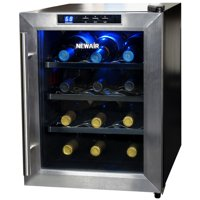 NewAir AW-121E Quiet 12-Bottle Thermoelectric Stainless Steel Door Wine Refrigerator with Digital Controls