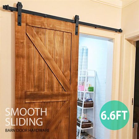 - 6.6 Ft Antique Single Black Steel Sliding Barn Wood Door Hardware Kit Track System Set