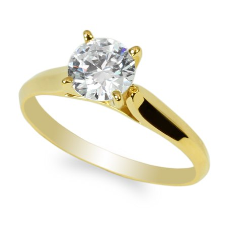 10K Yellow Gold 1.0ct Round CZ Classic Solid Engagement & Wedding Solitaire Ring Size 4-10