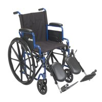 """Drive Medical Blue Streak Wheelchair with Flip Back Desk Arms, Elevating Leg Rests, 18"""" Seat"""