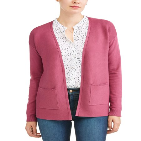 Women's Open Front Cardigan - Long Wool Blend Cardigan