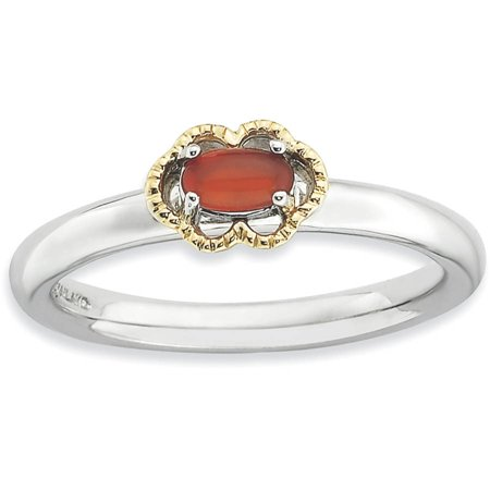 Sterling Silver Black Agate Ring (Red Agate Sterling Silver and 14kt Gold Polished Ring )
