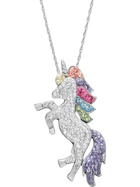 "Swarovski Element Sterling Silver Unicorn Pendant, 18"" Necklace"